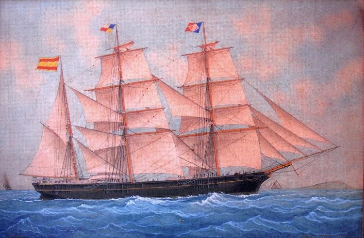 La corbeta HABANA según una pintura de Jose Pineda Guerra. Año 1891. Colección Sra Rosa Sust Mir. Del libro De la Vela al Vapor.JPG