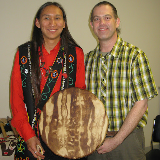 Hand drum for Morgan Fawcett presented by Michael Harris on May 25, 2011