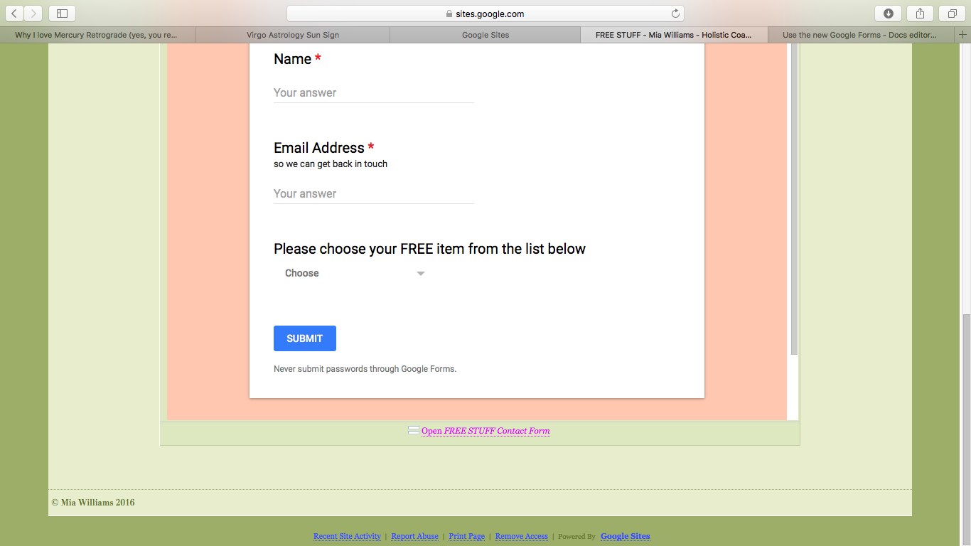 How Do I Remove The Open Free Stuff Contact Form Information On