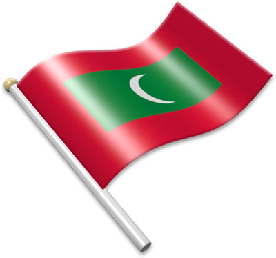The Maldivian flag on a flagpole clipart image