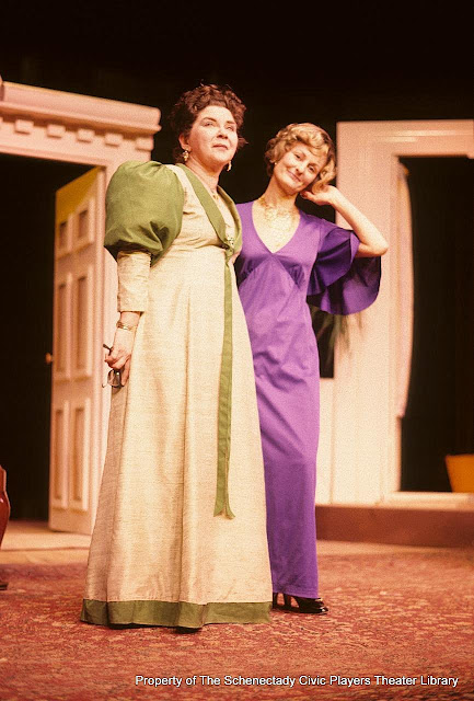 Helen Hughes and Fulvia Hickman during LADY WINDERMERE'S FAN - January/February 1976.  Property of The Schenectady Civic Players Theater Archive.