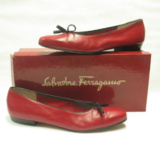 Salvatore Ferragamo Vintage Red Leather Flats