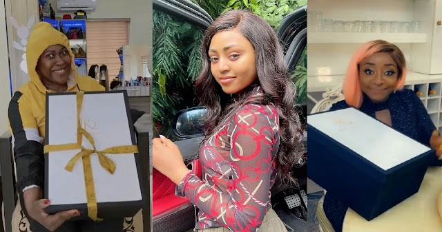 Check Out The Expensive Gifts Regina Daniels Gave To Ini Edo & Uche Jombo [Video]