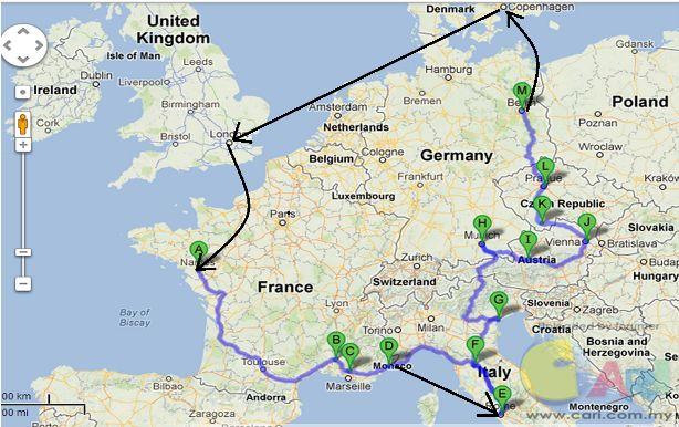 39天背包游欧洲10国(法国+摩纳哥+意大利+焚地冈+奥地利+捷克+德国+丹麦+瑞典+英国)