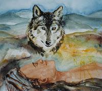'Mein Wolf', Aquarell auf Papier, 60x50, 1999, verkauft