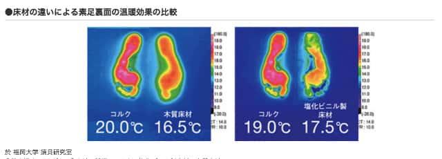 素足裏面の温暖効果の比較