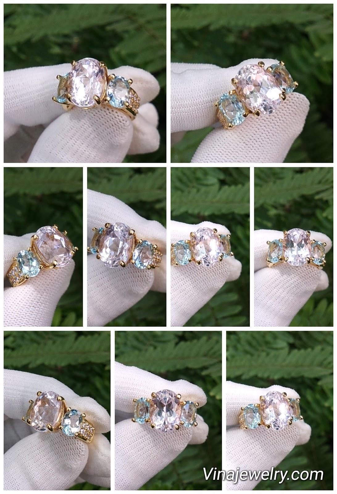 Nhẫn nữ đá Kunzite và Topaz thiên nhiên, vàng 18k