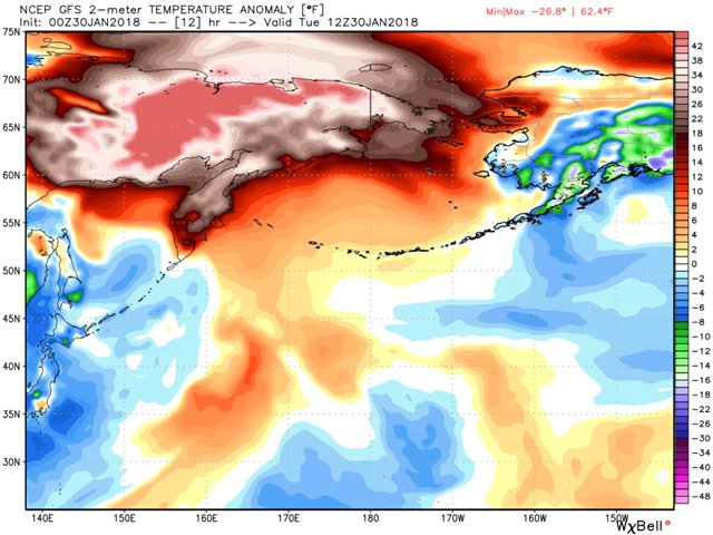 Temperature difference from normal simulated by the GFS model on Tuesday over eastern Russia and western Alaska. Graphic: WeatherBell.com