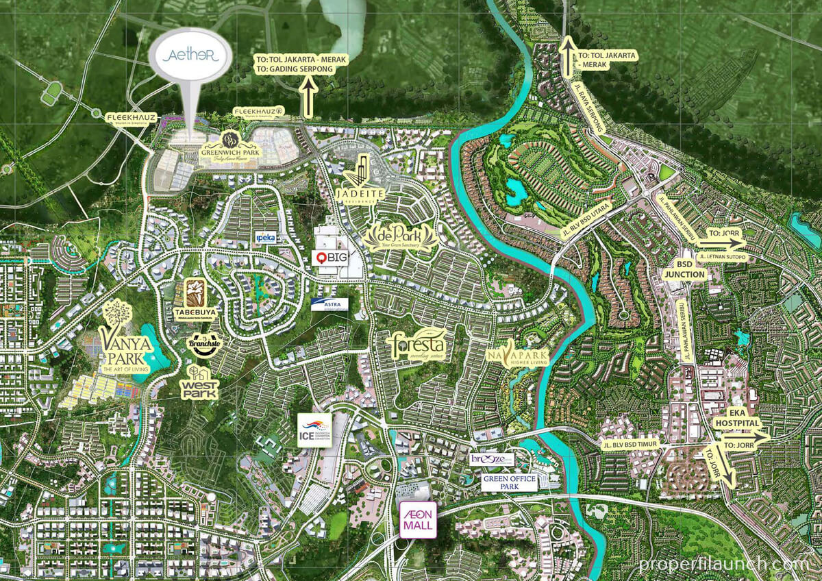 Peta Lokasi Aether Greenwich Park BSD