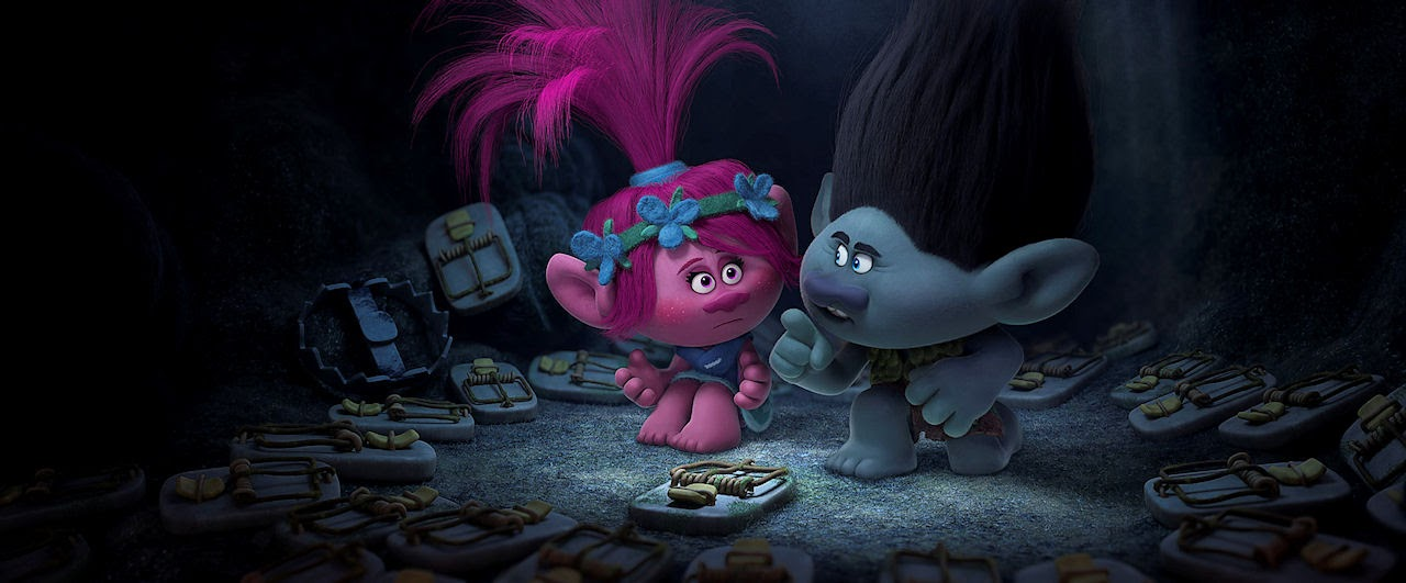 Troll princess Poppy (Left; voiced by Anna Kendrick) and Branch (Right; voiced by Justin Timberlake) in TROLLS. (Photo courtesy of DreamWorks Animation).