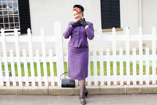 Vintage 1950's violet bocule linen suit with jet accessories | Lavender & Twill