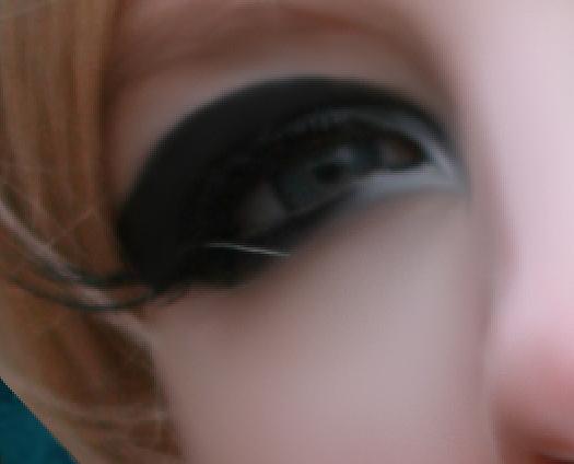 Detalhe da pintura e suavização do olho