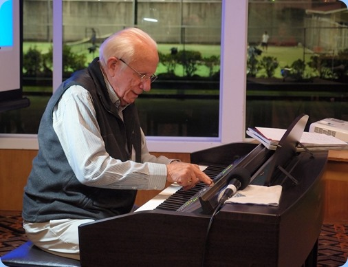 Rob Powell gave us a mini concert on the Clavinova CVP-509. Rob is an authority on the Yamaha Clavinovas and demonstrated wonderfully the capabilities of the instrument with piano, voices and styles. Photo Courtesy of Dennis Lyons.