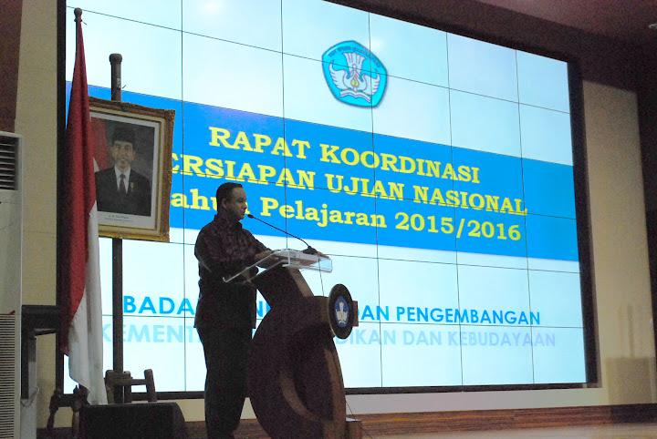 Anies Baswedan, Menteri Pendidikan dan Kebudayaan membuka Rapat Koordinasi Persiapan Pelaksanaan UN Tahun Pelajaran 2015/2016