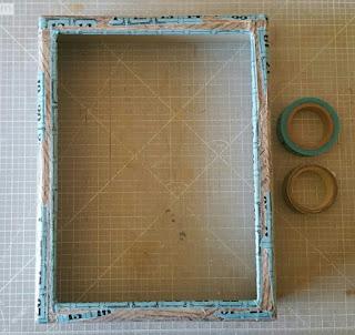 Detalle del washi tape azul