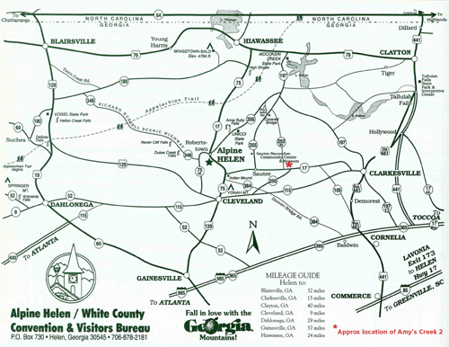 Map Of Georgia Helen.Pet Friendly Creekside Vacation Cabin Near Helen Ga Amy S Creek 2