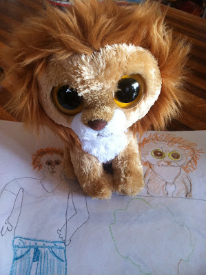 lion favorite drawing sketch stuffed big eyes stock photo