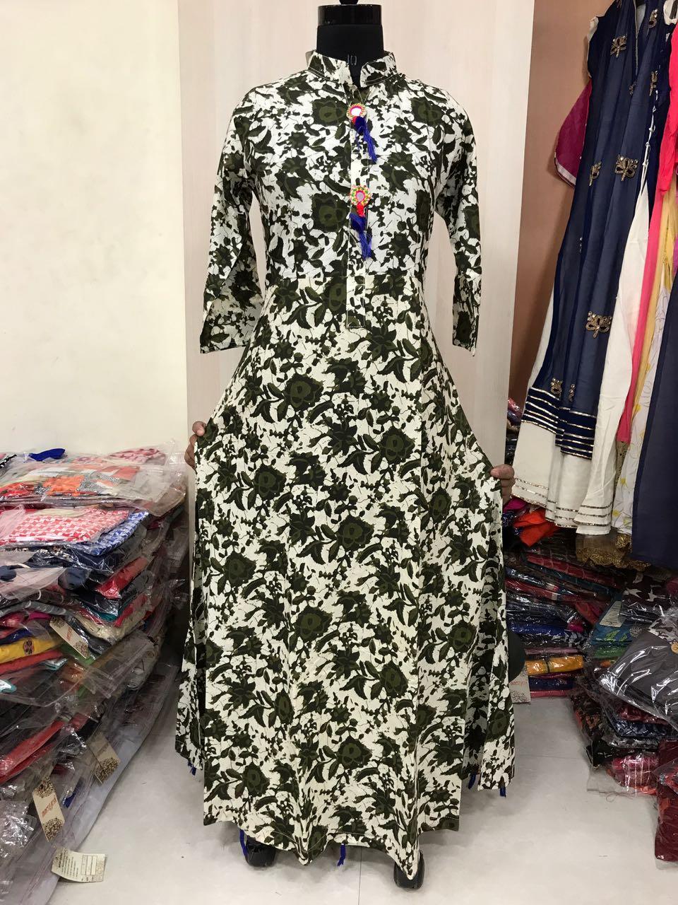 PMR : Cotton Printed Long Gown @Rs. 1600   Koyal Fashions Kurtis and ...