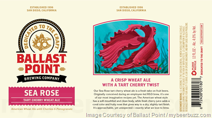 Ballast Point Adding NEW Sea Rose Tart Cherry Wheat Ale