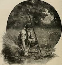 Garoto Davi pegando pedra no rio
