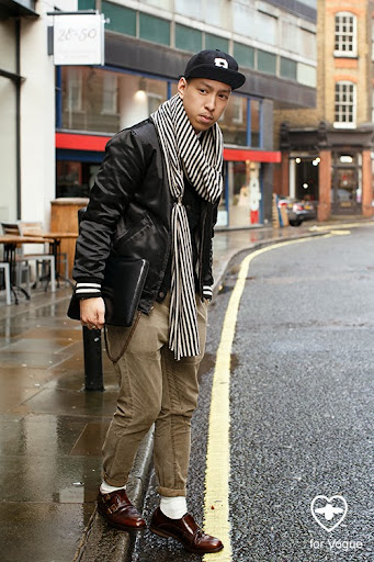 John Jarrett; stylist; Brooklyn Circus hat; Brooklyn Circus outer jacket; Levis vintage inner jacket;Uniqlo shirt; All Saints trousers; Oliver Sweeney shoes; Molly scarf;