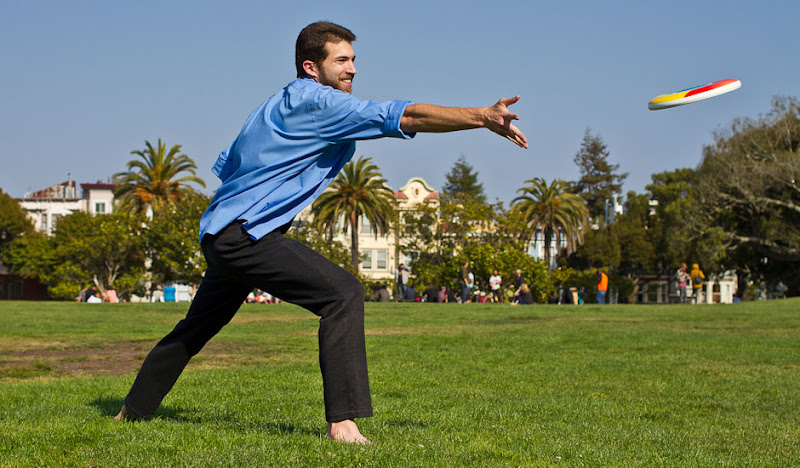 Pinstripe DPSP Frisbee Throw