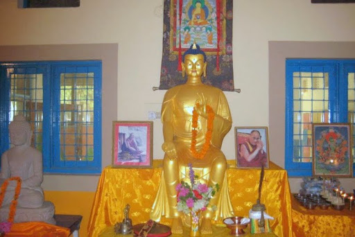 Maitreya Statue at opening of Matireya School, Bodhgaya, India, April 2012