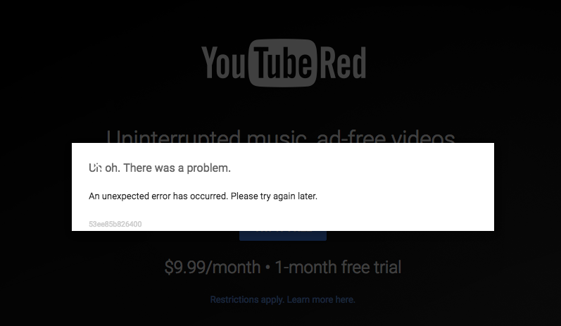 An unexpected error has occurred when signing up for Youtube