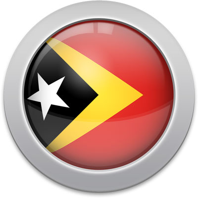 Timorese flag icon with a silver frame