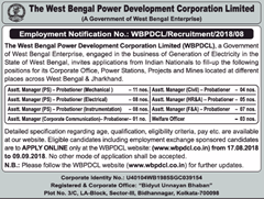 WBPDCL Advertisement 2018 www.indgovtjobs.in