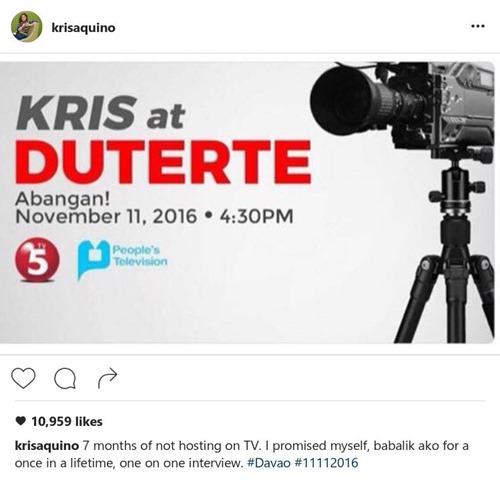 Kris Aquino interviews President Rodrigo Duterte