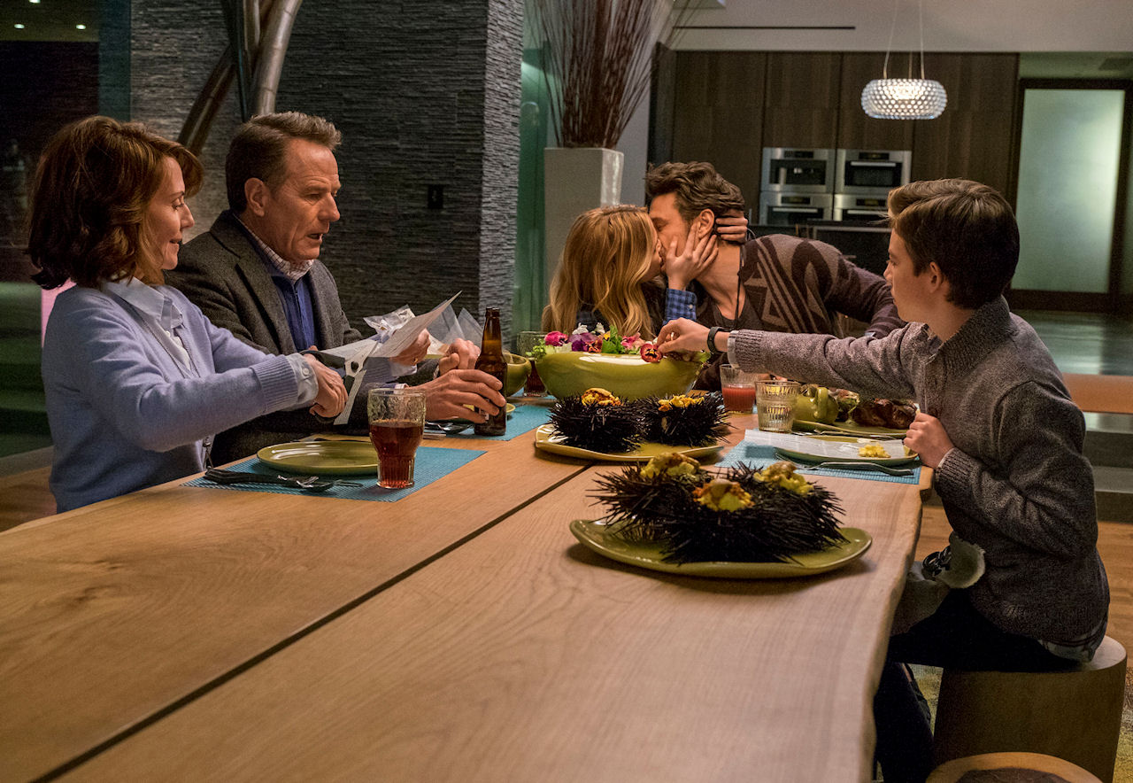 (L-r) – Megan Mullally, Bryan Cranston, Zoey Deutch, James Franco and Griffin Gluck in WHY HIM?. (Photo by Scott Garfield / courtesy of 20th Century Fox).