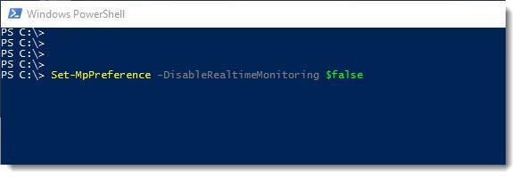 Mit Powershell Windows Defender deaktivieren