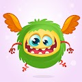 Cartoon Horned Funny Monster Illustration Excited Monster Free Download Vector CDR, AI, EPS and PNG Formats