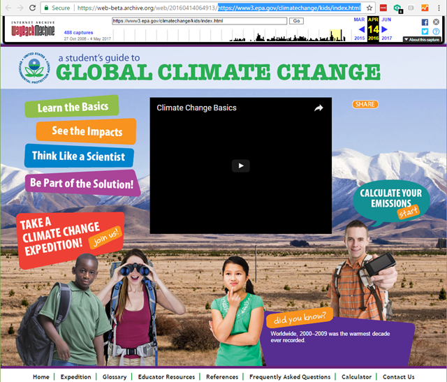Screenshot of the Archive.org snapshot of EPA's site, 'A Student's Guide to Global Climate Change', which was deleted by the Trump administration. Graphic: EPA / Archive.org