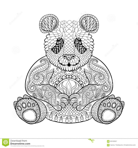 Stock Illustration Hand Drawn Tribal Panda Animal Totem Adult Coloring Page  Zentangle Style Illustration High Details White Background Image