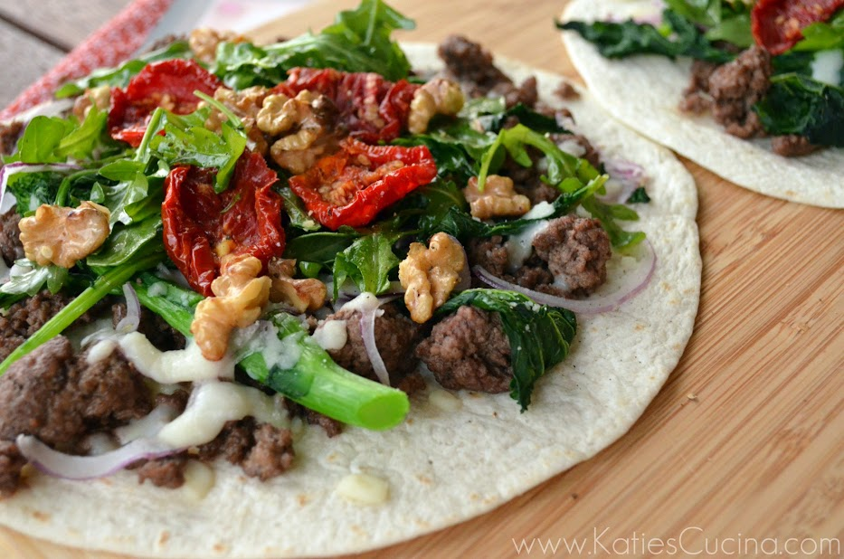 Beef & Broccoli Rabe Tostada with Arugula from Katiescucina.com #hellofresh
