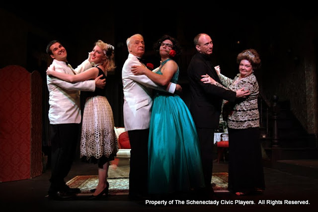 Ryan Davis, Meigg Jupin, Phil Sheehan, Jimmy Cupp, Mark Stephens and Sally Farrell in LEADING LADIES - October 2011.  Property of The Schenectady Civic Players Theater Archive.