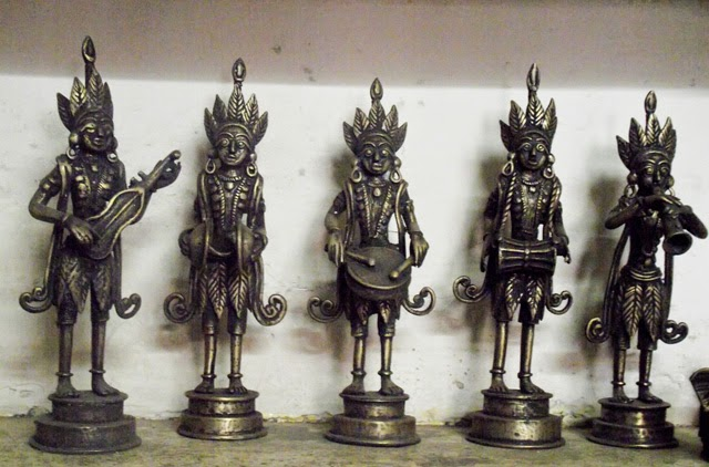 Statues made of brass in metal crafts workshop at Dhamrai
