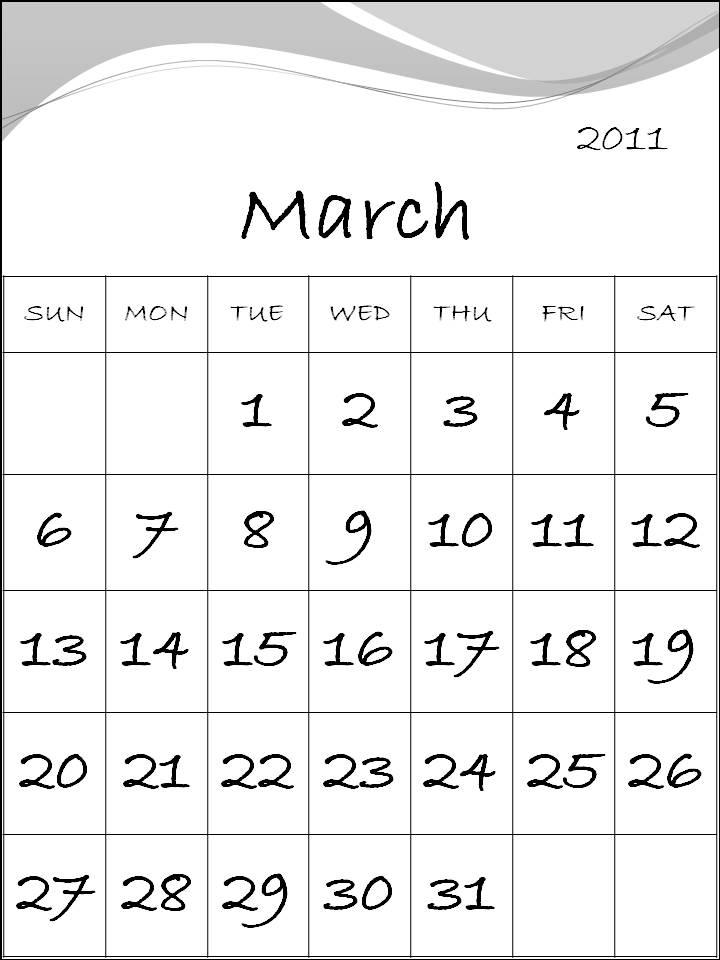calendar 2011 template march. scrapbooking calendar 2011