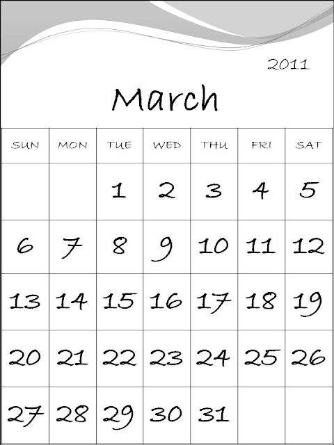march 2011 calendar printable. Free Printable Calendar 2011
