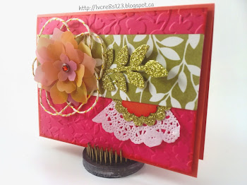 Linda Vich Creates: Revving Up For Retirement. A Mother's Day card is embellished with sponged vellum flowers and adorned with Gold Glimmer leaves.
