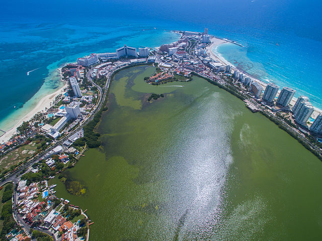 Aerial shot of Cancun, Mexico