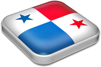 Flag of Panama with metallic square frame