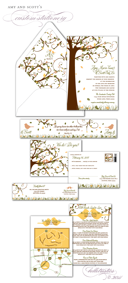 custom spring lovebird tree grass theme wedding invitation suite rsvp postcard custom map design