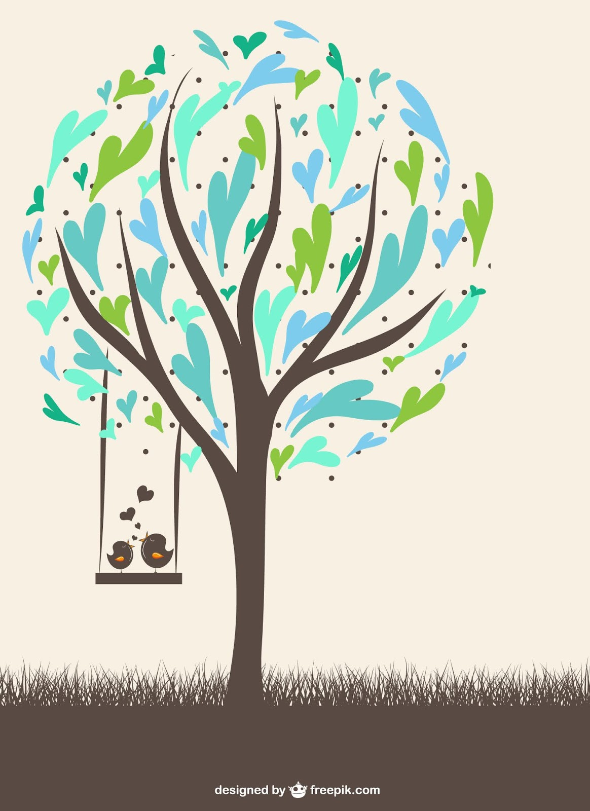Tree Made Blue Green Hearts With Birds Free Download Vector CDR, AI, EPS and PNG Formats