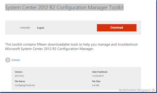 System Center 2012 R2 Configuration Manager Toolkit