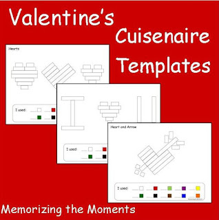 Valentine's Day Themed printable math templates to use with Cuisenaire Rods