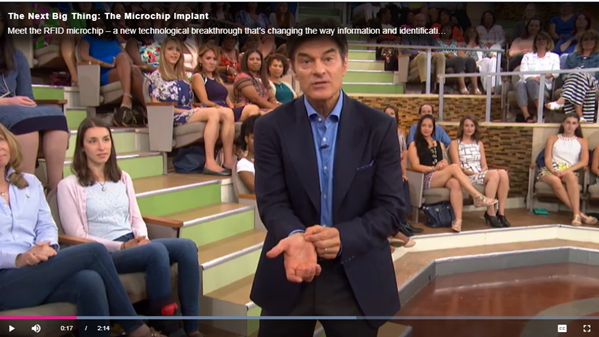 Dr Oz promoting RFID live on American Television