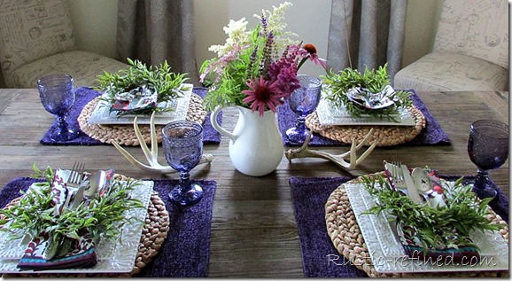 Setting a summer tablescape on Restoration Hardware's Dining Table @ Rustic-refined.com